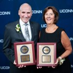 Ann and Micheal Dion receiving THE CAROLYN LADD WIDMER OUTSTANDING ALUMNI AWARD FOR LEADERSHIP IN NURSING