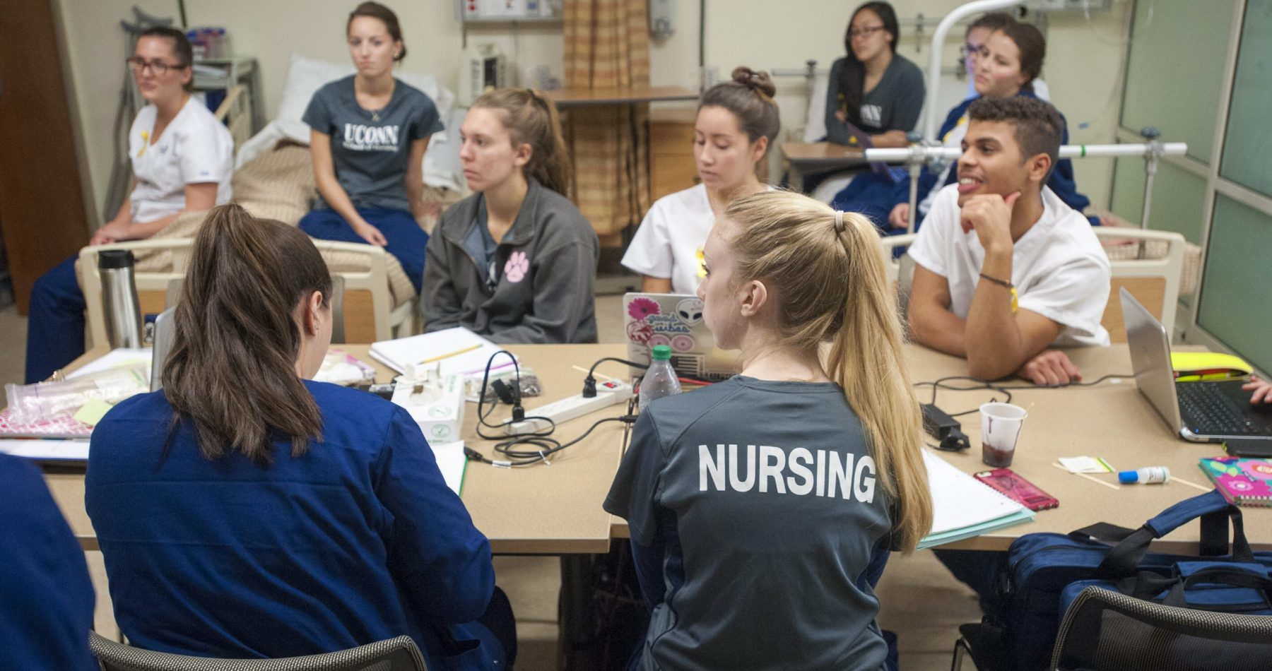 Nursing students attend class in the Clinical Learning Simulation Center.