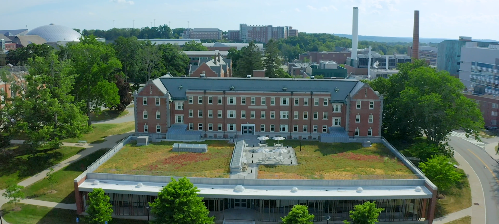 A view of the School of Nursing building, Storrs Hall, from above.