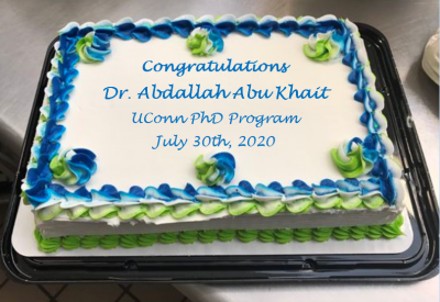 A celebration cake for PhD graduate Abdallah Abu Khait.